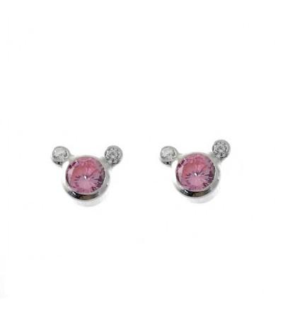 Pendientes circonita rosa