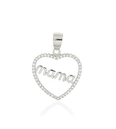 Colgante plata corazon mama