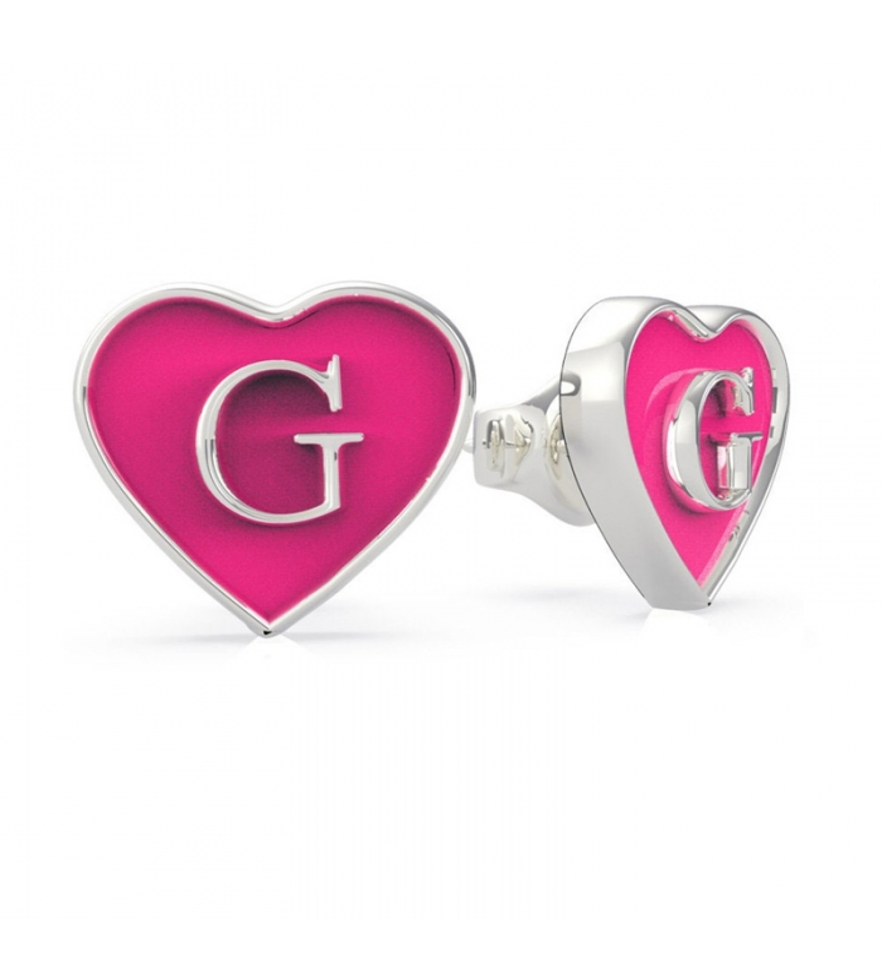 Pendientes Guess heart enamel Pink