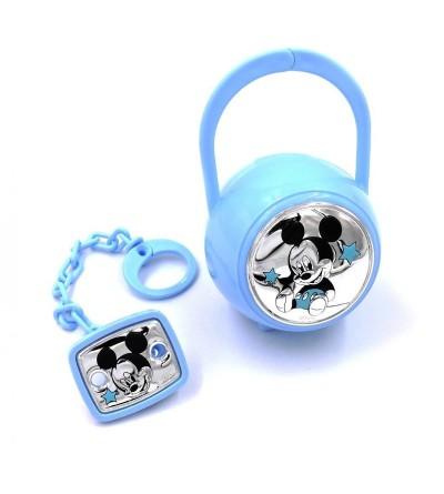 Set pinzas + portachupete Mickey azul