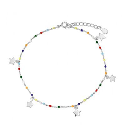 Tobillera plata colores estrellas
