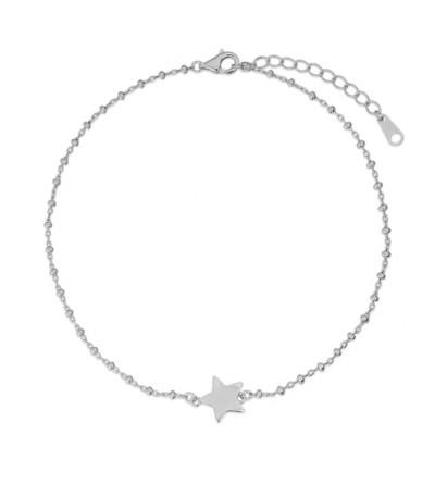 Tobillera plata estrella