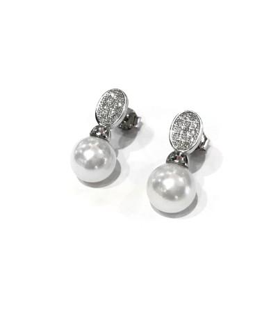 Pendientes plata perlas