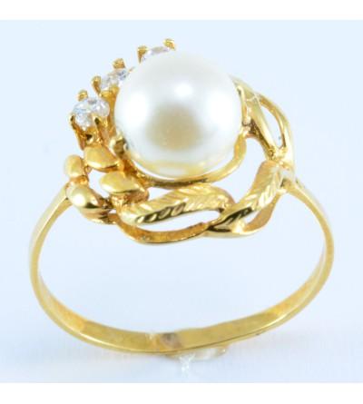 Anillo oro perlas y circonitas
