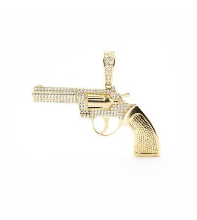 Colgante pistola circonitas oro
