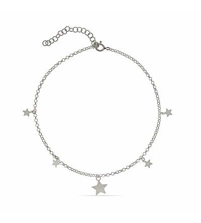 Tobillera plata estrellas