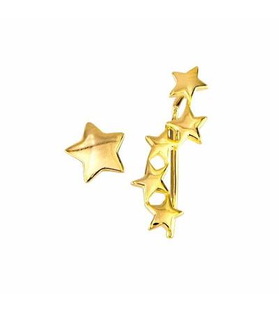 Pendientes trepador estrella chapado